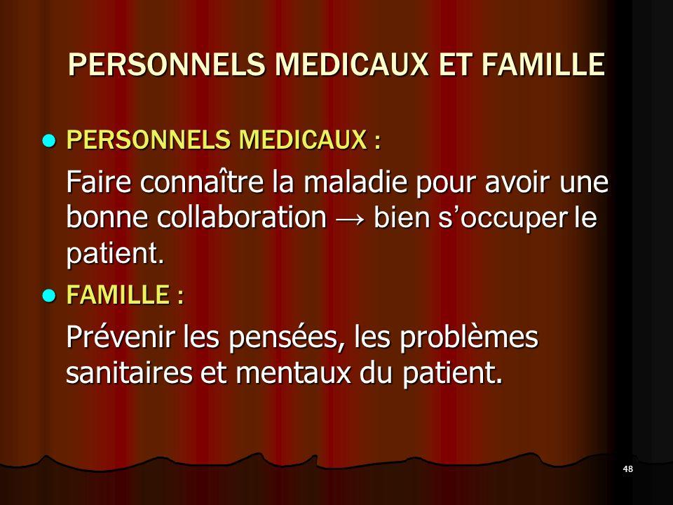 48 PERSONNELS MEDICAUX ET FAMILLE PERSONNELS MEDICAUX : PERSONNELS MEDICAUX : Faire connaître la maladie pour avoir une bonne collaboration bien soccu