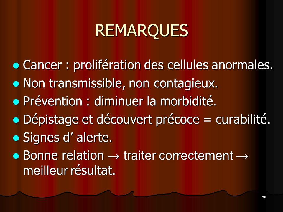 50 REMARQUES Cancer : prolifération des cellules anormales. Cancer : prolifération des cellules anormales. Non transmissible, non contagieux. Non tran