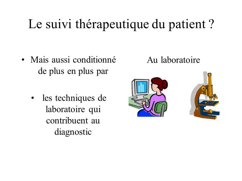 Le suivi thérapeutique du patient ? Mais aussi conditionné de plus en plus par les techniques de laboratoire qui contribuent au diagnostic Au laborato