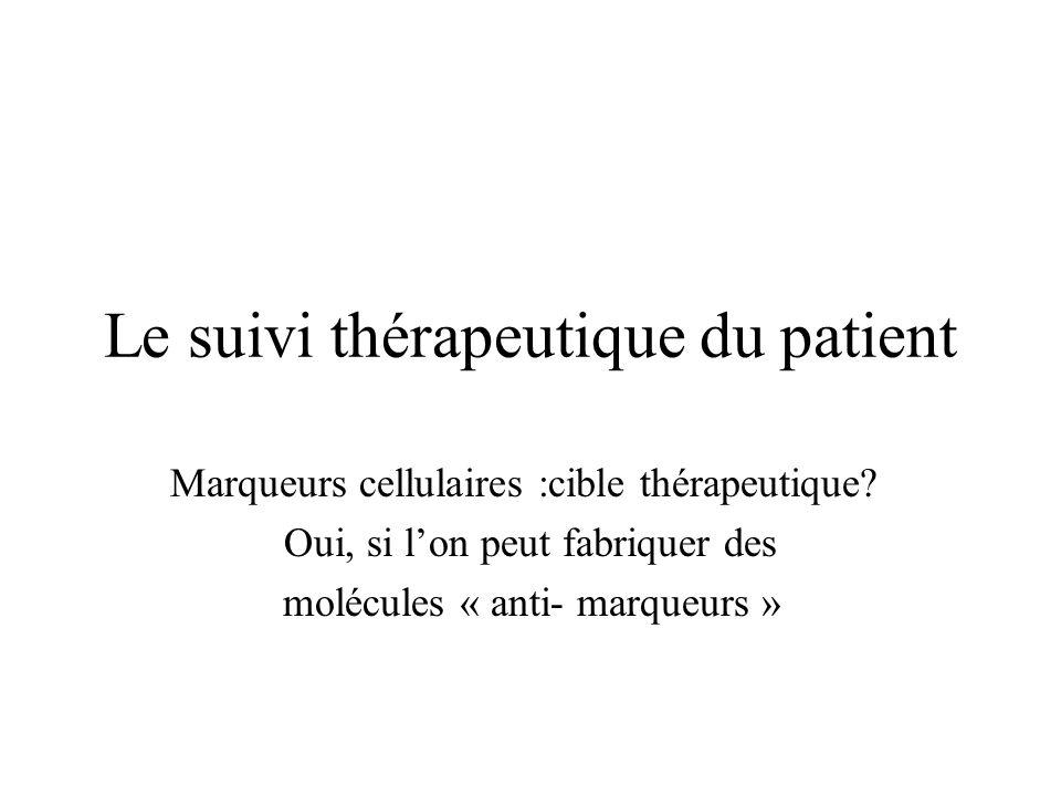 Le suivi thérapeutique du patient Marqueurs cellulaires :cible thérapeutique? Oui, si lon peut fabriquer des molécules « anti- marqueurs »