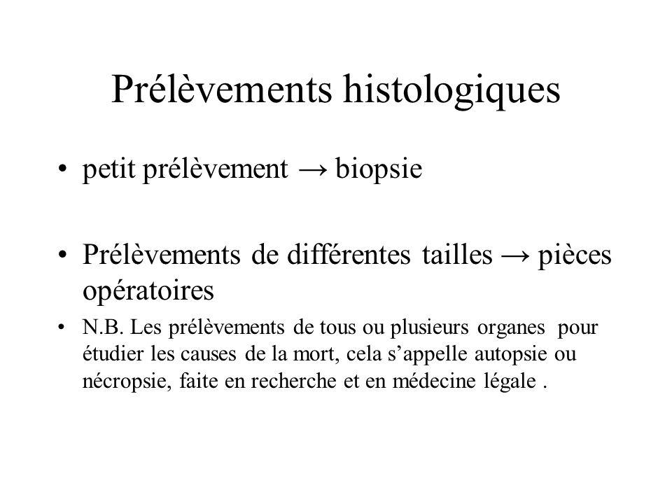 Prélèvements histologiques petit prélèvement biopsie Prélèvements de différentes tailles pièces opératoires N.B. Les prélèvements de tous ou plusieurs