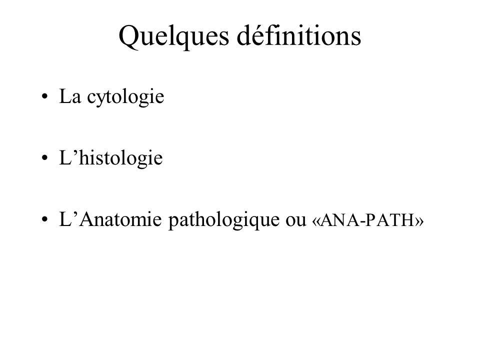 Quelques définitions La cytologie Lhistologie LAnatomie pathologique ou «ANA-PATH»