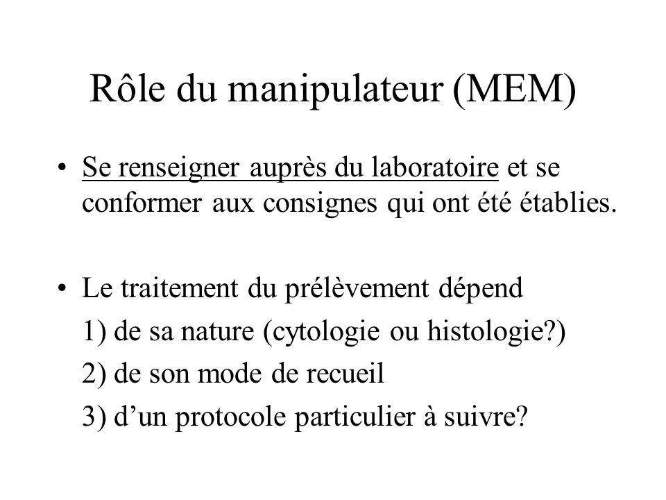 Rôle du manipulateur (MEM) Se renseigner auprès du laboratoire et se conformer aux consignes qui ont été établies. Le traitement du prélèvement dépend