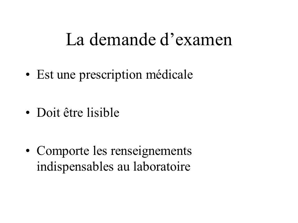 La demande dexamen Est une prescription médicale Doit être lisible Comporte les renseignements indispensables au laboratoire