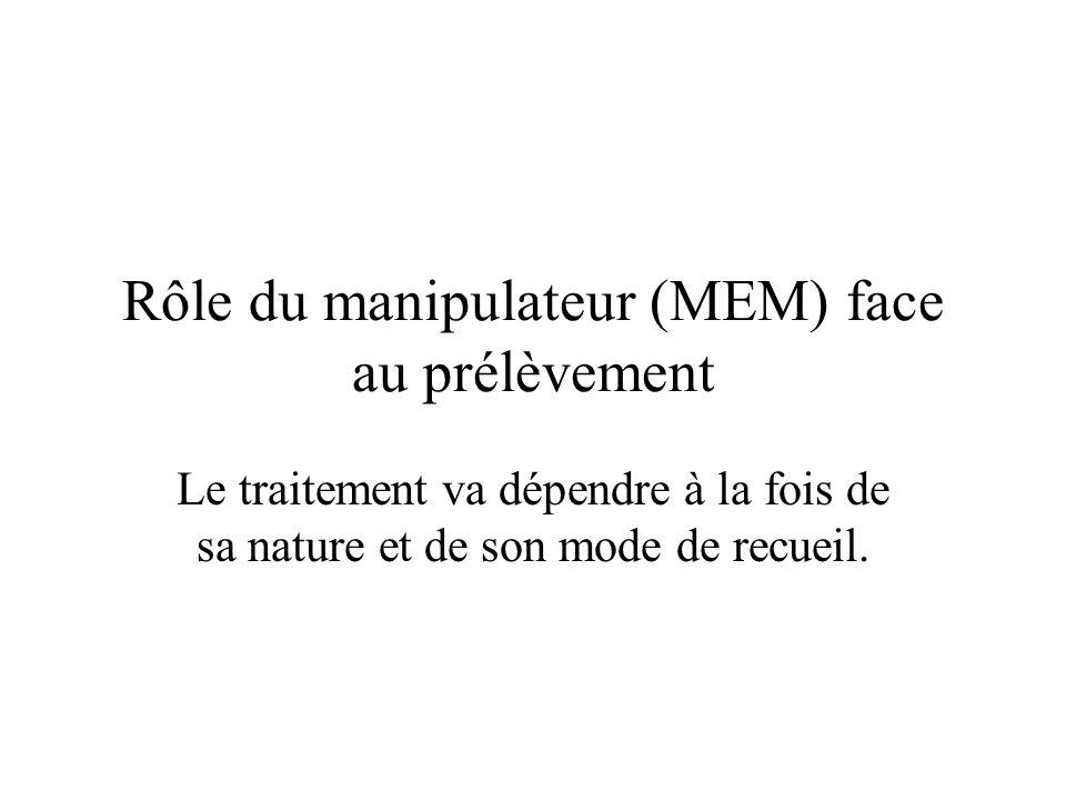 Rôle du manipulateur (MEM) face au prélèvement Le traitement va dépendre à la fois de sa nature et de son mode de recueil.