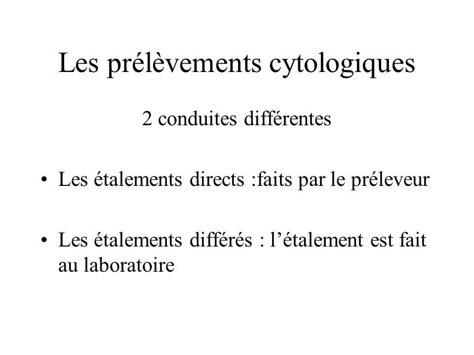 Les prélèvements cytologiques 2 conduites différentes Les étalements directs :faits par le préleveur Les étalements différés : létalement est fait au