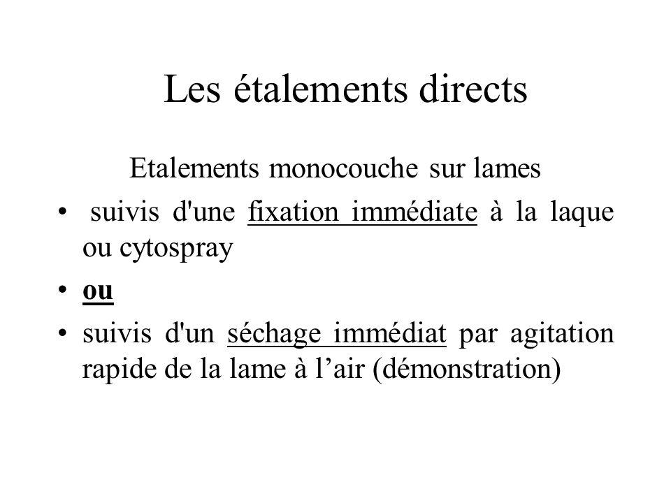 Les étalements directs Etalements monocouche sur lames suivis d'une fixation immédiate à la laque ou cytospray ou suivis d'un séchage immédiat par agi