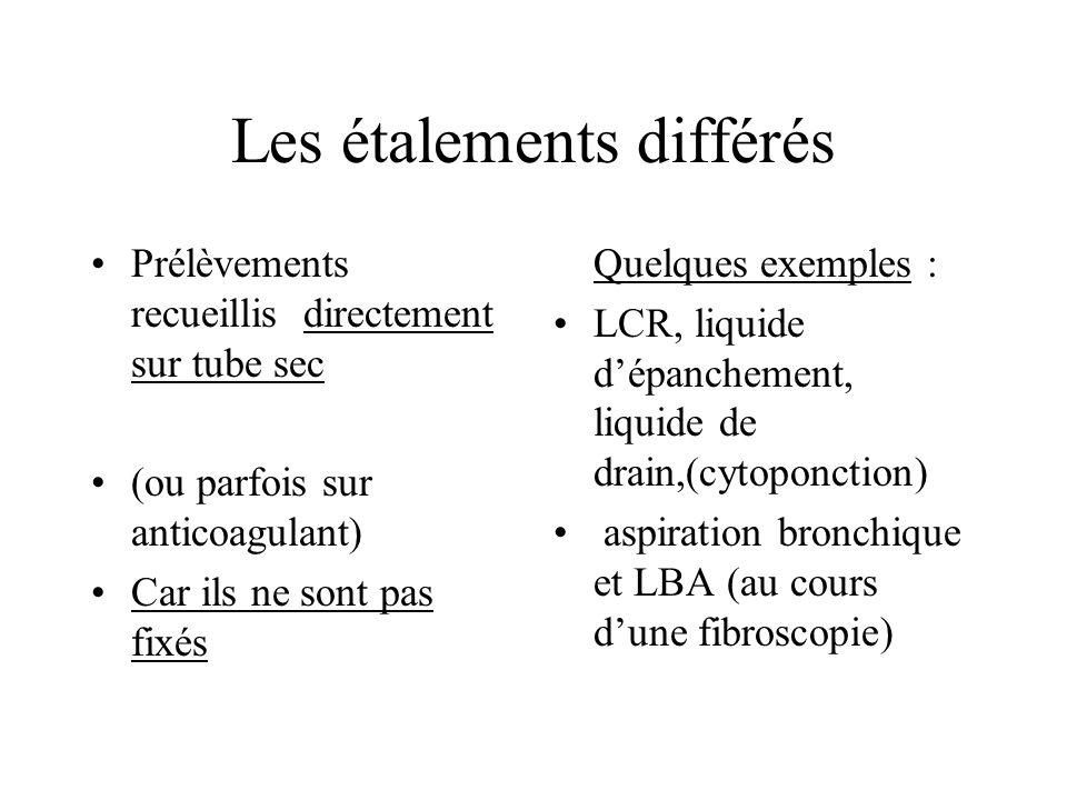 Les étalements différés Quelques exemples : LCR, liquide dépanchement, liquide de drain,(cytoponction) aspiration bronchique et LBA (au cours dune fib