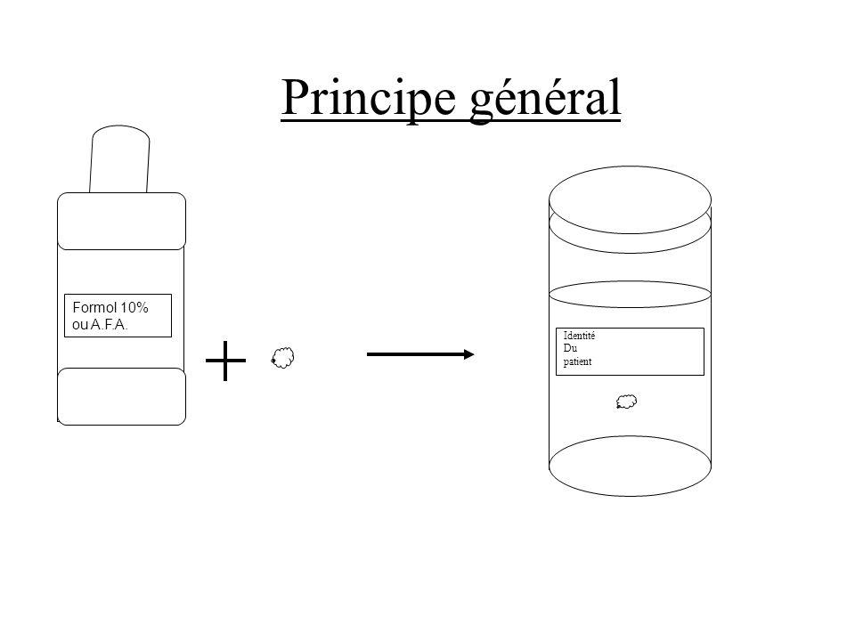 Principe général Identité Du patient Formol 10% ou A.F.A.