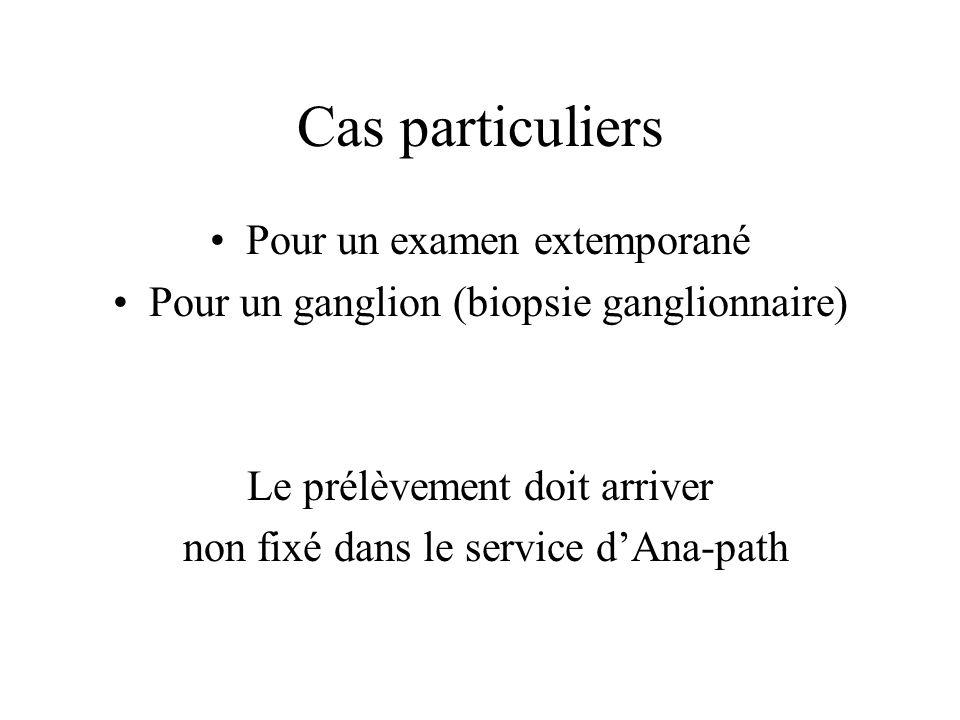 Cas particuliers Pour un examen extemporané Pour un ganglion (biopsie ganglionnaire) Le prélèvement doit arriver non fixé dans le service dAna-path