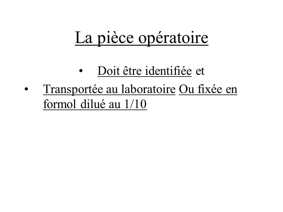 La pièce opératoire Doit être identifiée et Transportée au laboratoire Ou fixée en formol dilué au 1/10