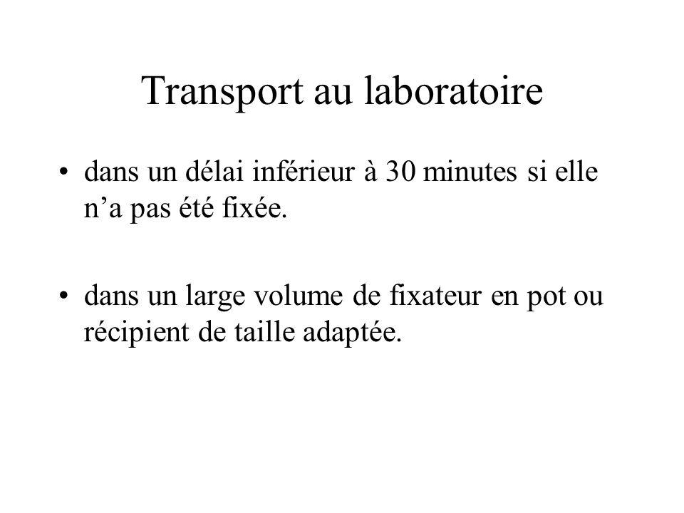 Transport au laboratoire dans un délai inférieur à 30 minutes si elle na pas été fixée. dans un large volume de fixateur en pot ou récipient de taille