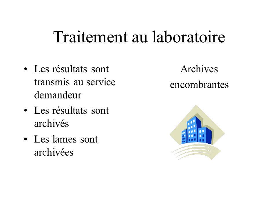 Traitement au laboratoire Les résultats sont transmis au service demandeur Les résultats sont archivés Les lames sont archivées Archives encombrantes