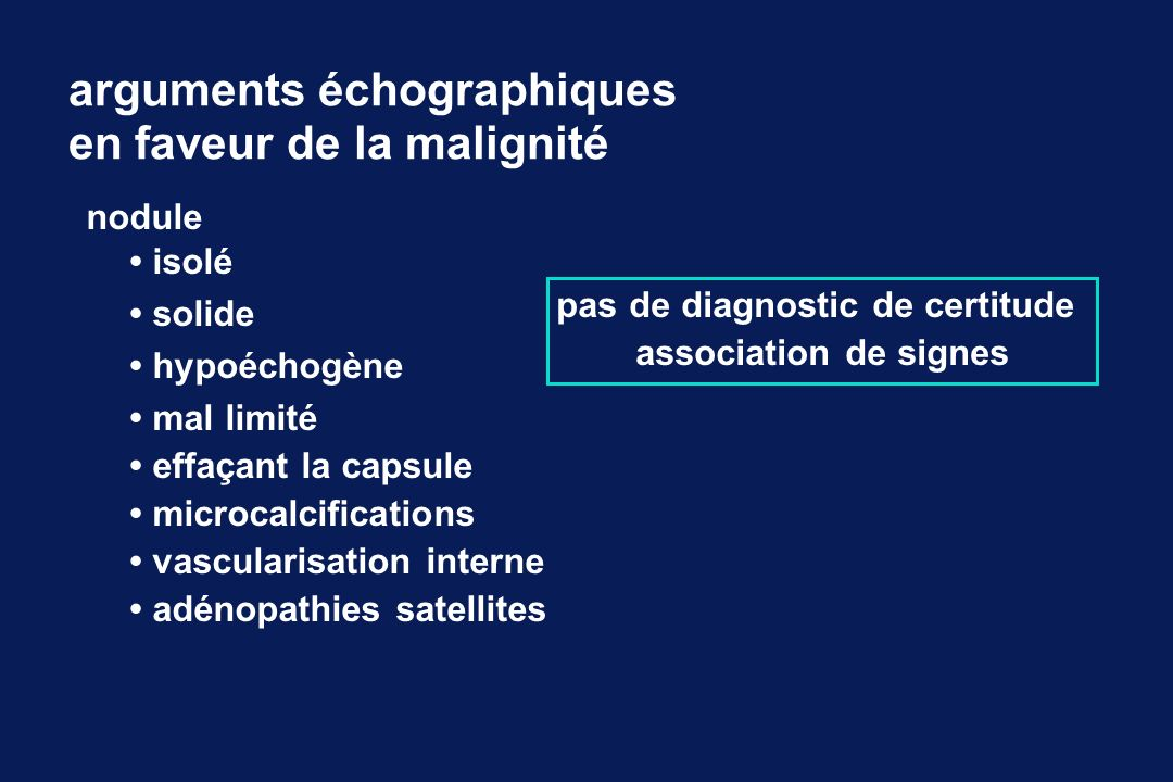arguments échographiques en faveur de la malignité nodule isolé solide hypoéchogène mal limité effaçant la capsule microcalcifications vascularisation