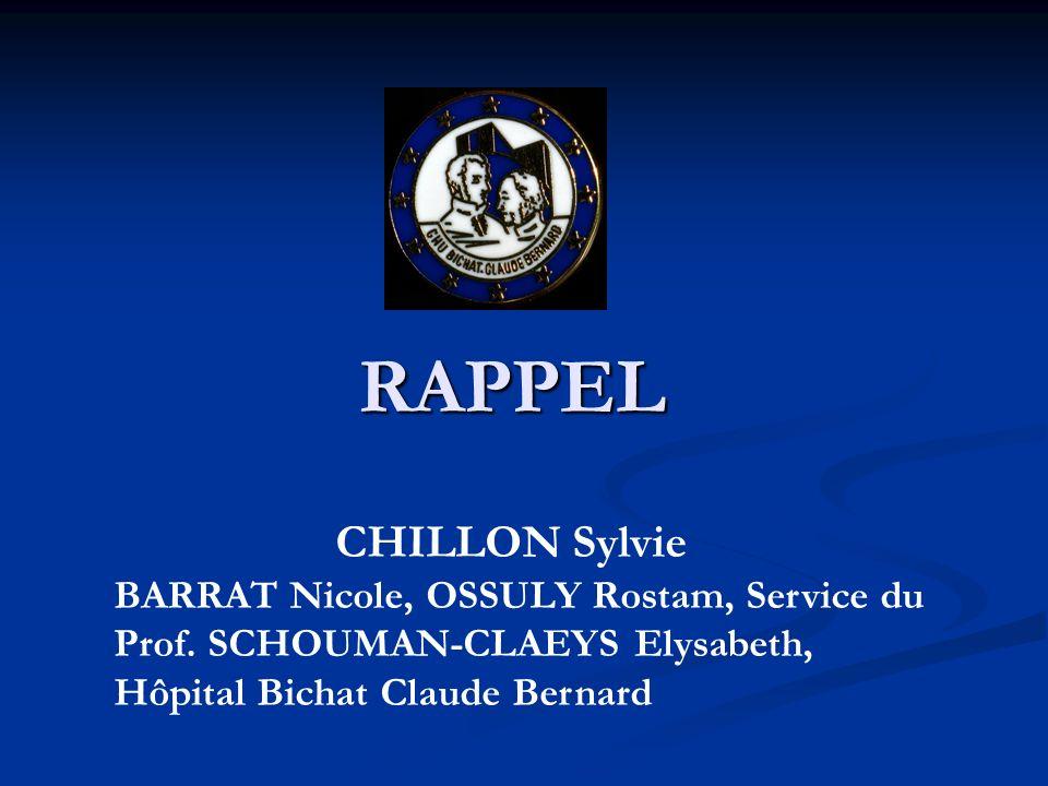 RAPPEL CHILLON Sylvie BARRAT Nicole, OSSULY Rostam, Service du Prof. SCHOUMAN-CLAEYS Elysabeth, Hôpital Bichat Claude Bernard