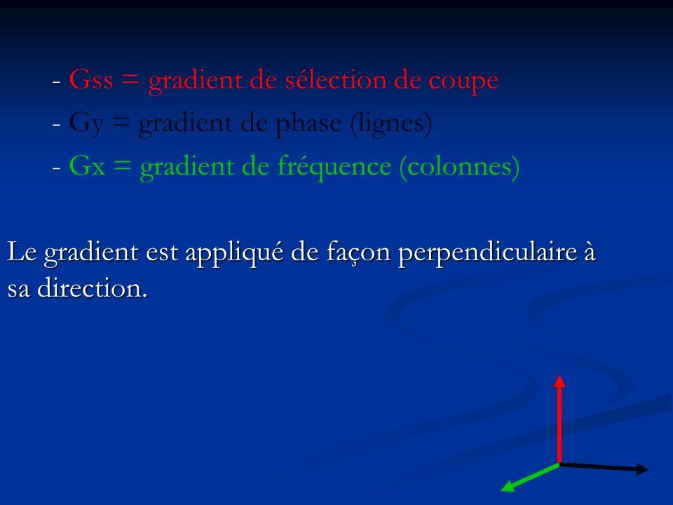 - - Gss = gradient de sélection de coupe - Gy = gradient de phase (lignes) - Gx = gradient de fréquence (colonnes) Le gradient est appliqué de façon p