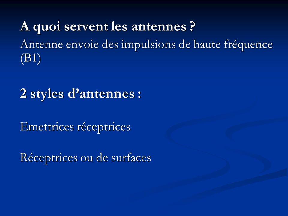 A quoi servent les antennes ? Antenne envoie des impulsions de haute fréquence (B1) 2 styles dantennes : Emettrices réceptrices Réceptrices ou de surf