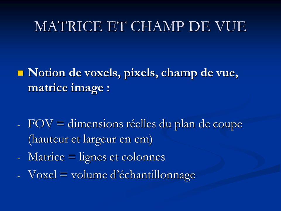 MATRICE ET CHAMP DE VUE Notion de voxels, pixels, champ de vue, matrice image : Notion de voxels, pixels, champ de vue, matrice image : - FOV = dimens