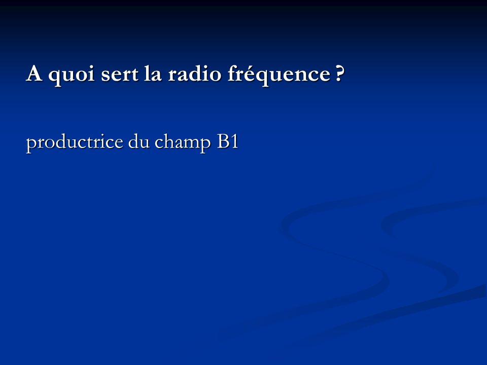 A quoi sert la radio fréquence ? productrice du champ B1