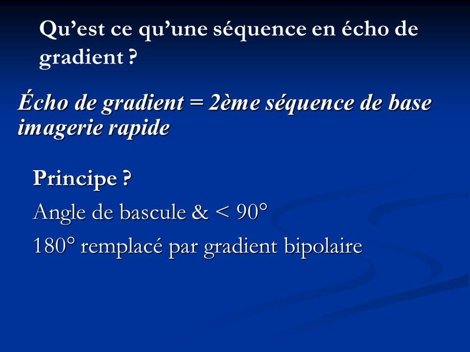 Principe ? Angle de bascule & < 90° 180° remplacé par gradient bipolaire Écho de gradient = 2ème séquence de base imagerie rapide Quest ce quune séque