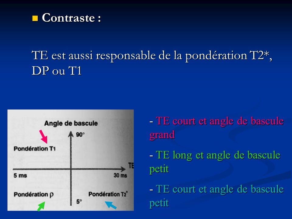 Contraste : Contraste : TE est aussi responsable de la pondération T2*, DP ou T1 - TE court et angle de bascule grand - TE long et angle de bascule pe