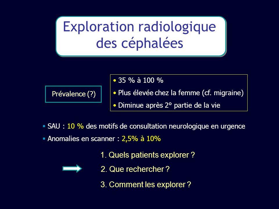 Exploration radiologique des céphalées 35 % à 100 % Plus élevée chez la femme (cf. migraine) Diminue après 2° partie de la vie Prévalence (?) SAU : 10