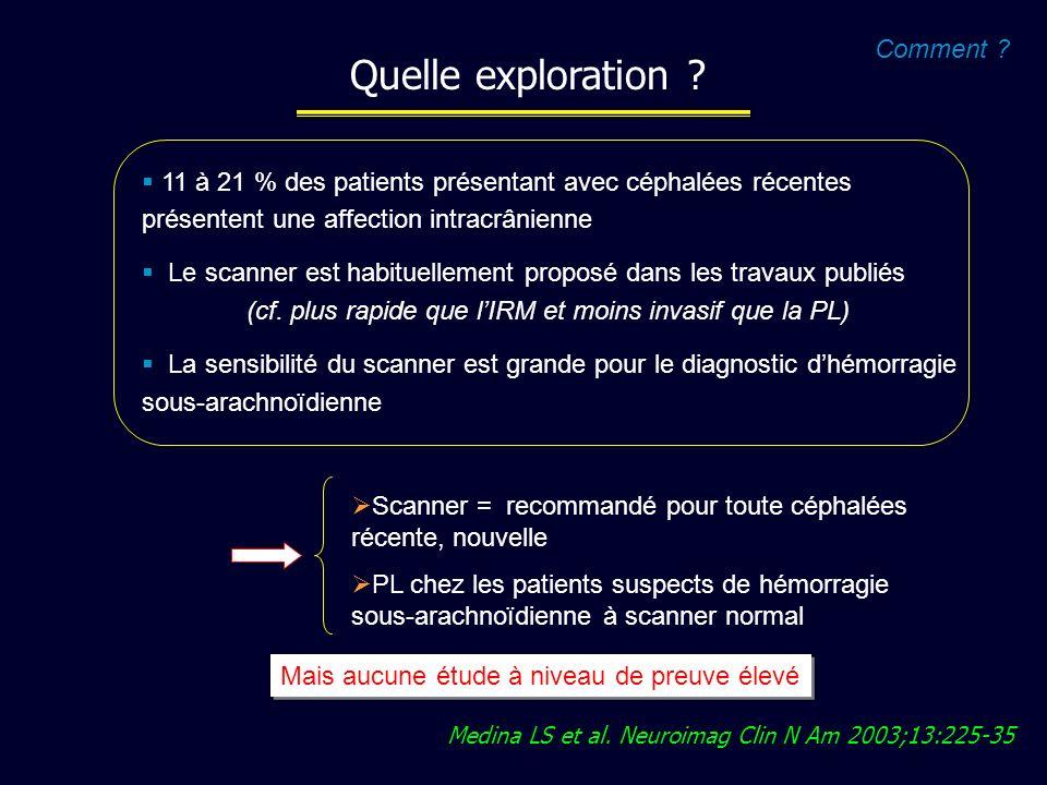 Medina LS et al. Neuroimag Clin N Am 2003;13:225-35 11 à 21 % des patients présentant avec céphalées récentes présentent une affection intracrânienne