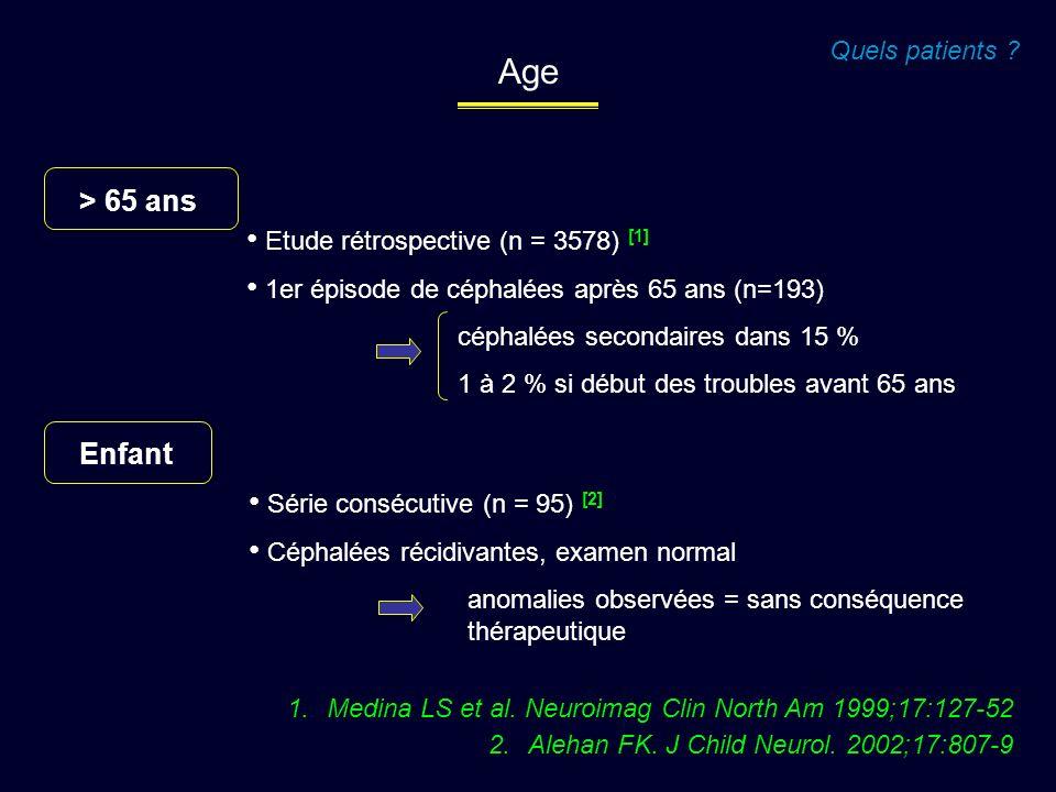 > 65 ans Etude rétrospective (n = 3578) [1] 1er épisode de céphalées après 65 ans (n=193) céphalées secondaires dans 15 % 1 à 2 % si début des trouble