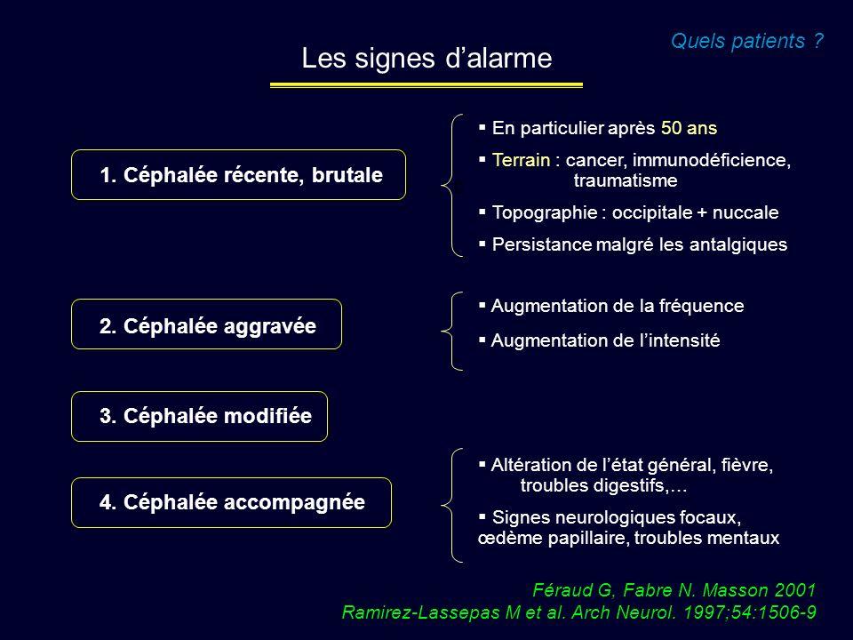 Féraud G, Fabre N. Masson 2001 Ramirez-Lassepas M et al. Arch Neurol. 1997;54:1506-9 Quels patients ? Les signes dalarme 1. Céphalée récente, brutale