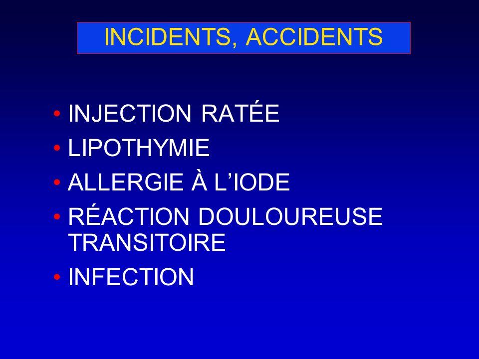INCIDENTS, ACCIDENTS INJECTION RATÉE LIPOTHYMIE ALLERGIE À LIODE RÉACTION DOULOUREUSE TRANSITOIRE INFECTION