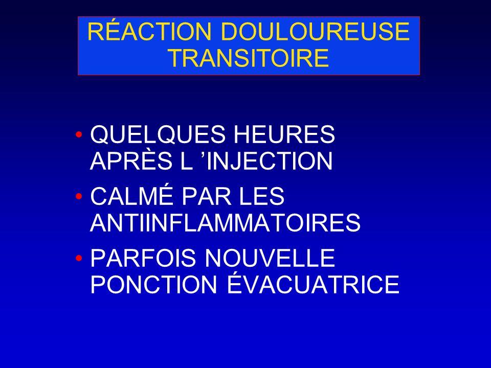 RÉACTION DOULOUREUSE TRANSITOIRE QUELQUES HEURES APRÈS L INJECTION CALMÉ PAR LES ANTIINFLAMMATOIRES PARFOIS NOUVELLE PONCTION ÉVACUATRICE