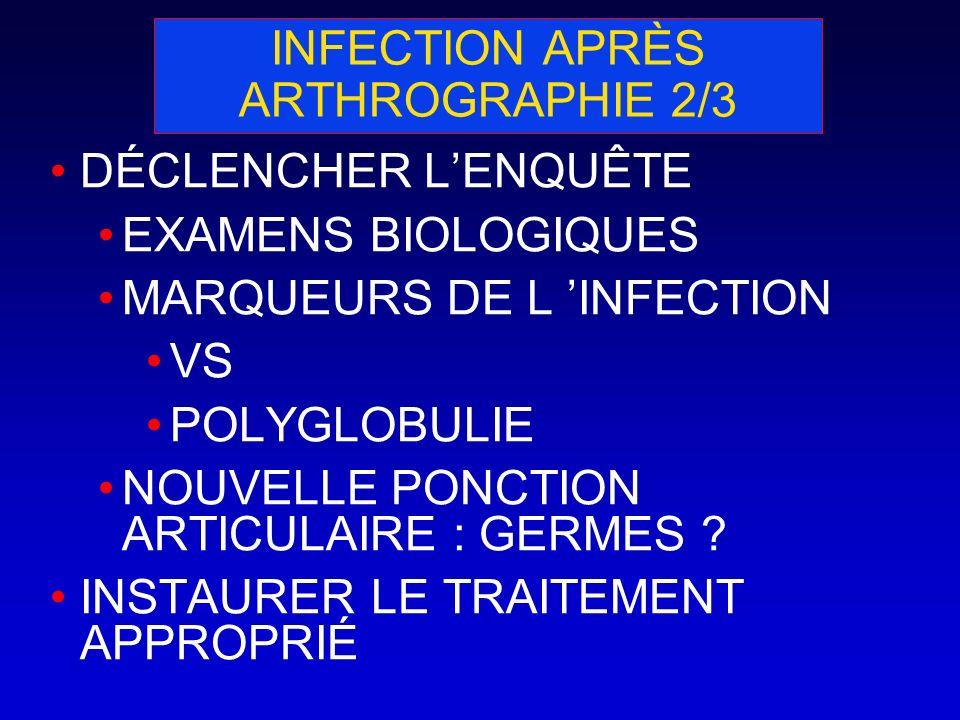 INFECTION APRÈS ARTHROGRAPHIE 2/3 DÉCLENCHER LENQUÊTE EXAMENS BIOLOGIQUES MARQUEURS DE L INFECTION VS POLYGLOBULIE NOUVELLE PONCTION ARTICULAIRE : GER