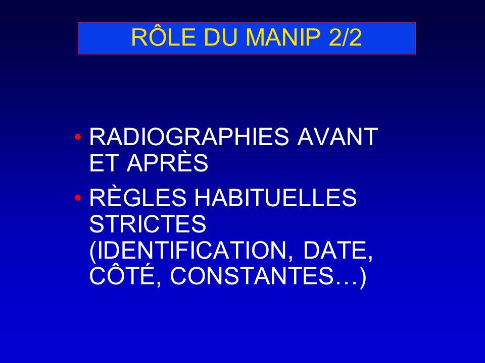 RÔLE DU MANIP 2/2 RADIOGRAPHIES AVANT ET APRÈS RÈGLES HABITUELLES STRICTES (IDENTIFICATION, DATE, CÔTÉ, CONSTANTES…)