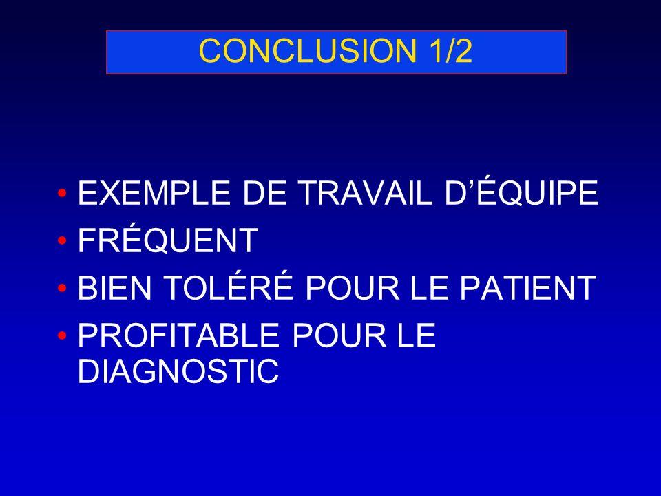 CONCLUSION 1/2 EXEMPLE DE TRAVAIL DÉQUIPE FRÉQUENT BIEN TOLÉRÉ POUR LE PATIENT PROFITABLE POUR LE DIAGNOSTIC