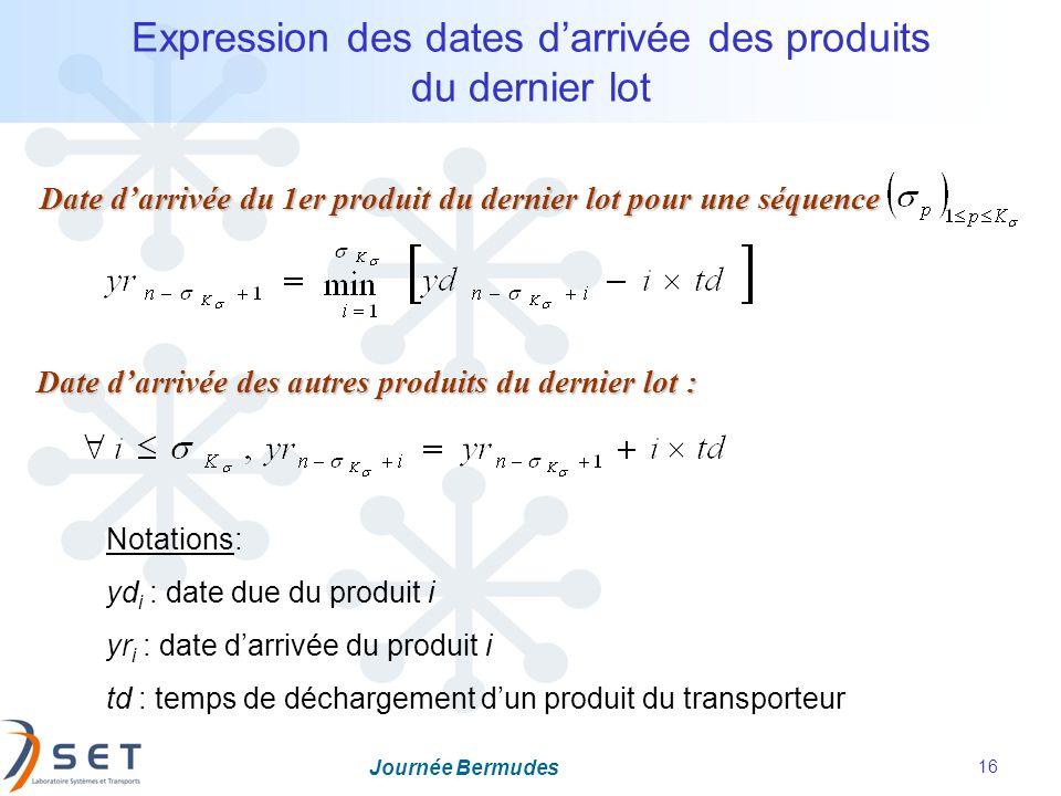 Journée Bermudes 16 Expression des dates darrivée des produits du dernier lot Date darrivée du 1er produit du dernier lot pour une séquence Date darri