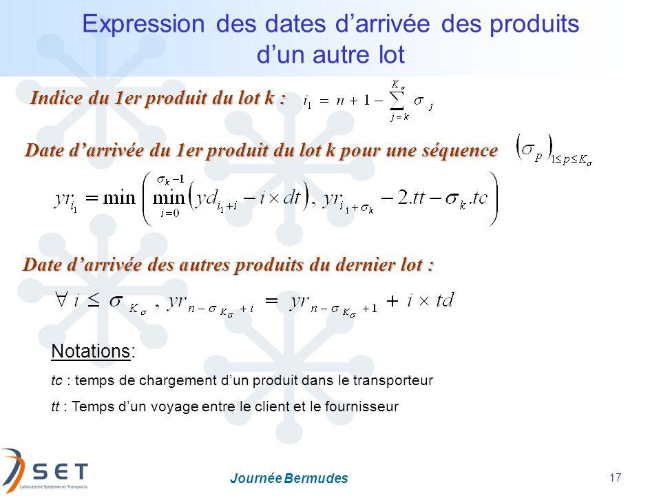 Journée Bermudes 17 Expression des dates darrivée des produits dun autre lot Date darrivée du 1er produit du lot k pour une séquence Date darrivée des