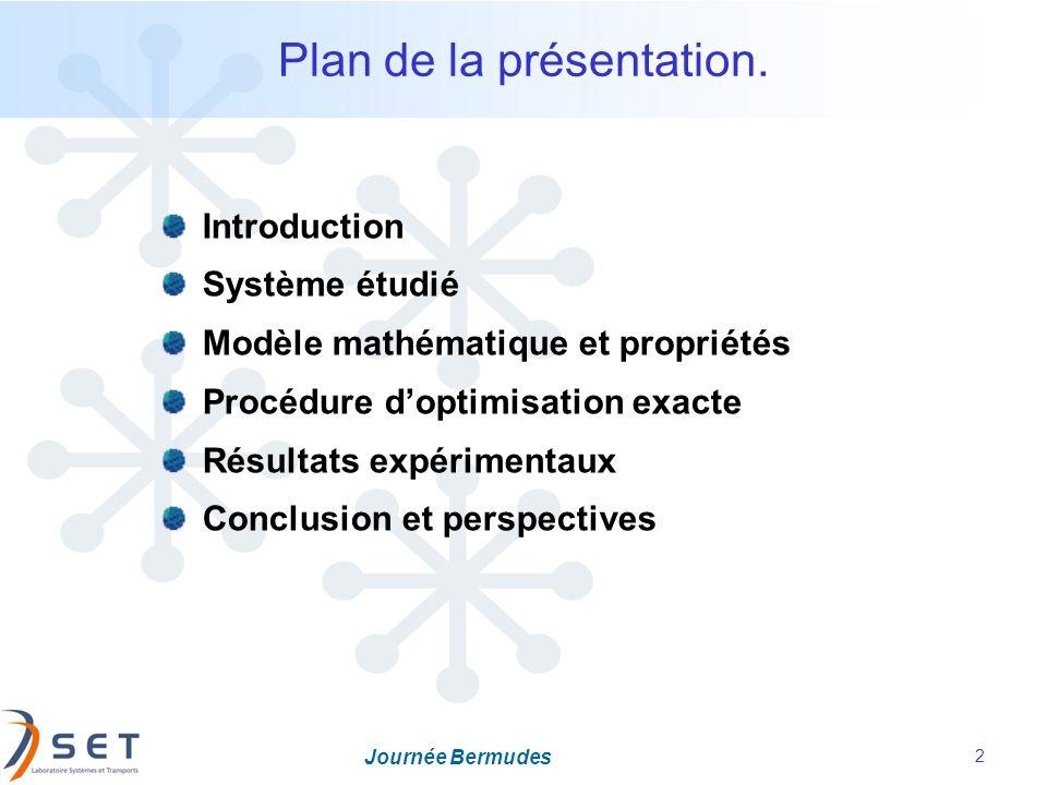 Journée Bermudes 2 Plan de la présentation. Introduction Système étudié Modèle mathématique et propriétés Procédure doptimisation exacte Résultats exp