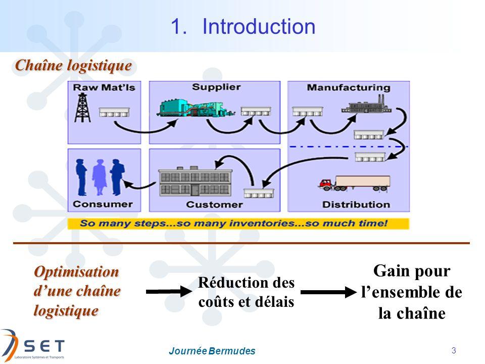 Journée Bermudes 3 1.Introduction Réduction des coûts et délais Optimisation dune chaîne logistique Gain pour lensemble de la chaîne Chaîne logistique