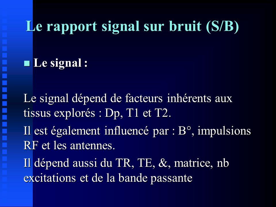 n Le bruit : Ensemble des signaux indésirables qui dégradent la formation de limage.