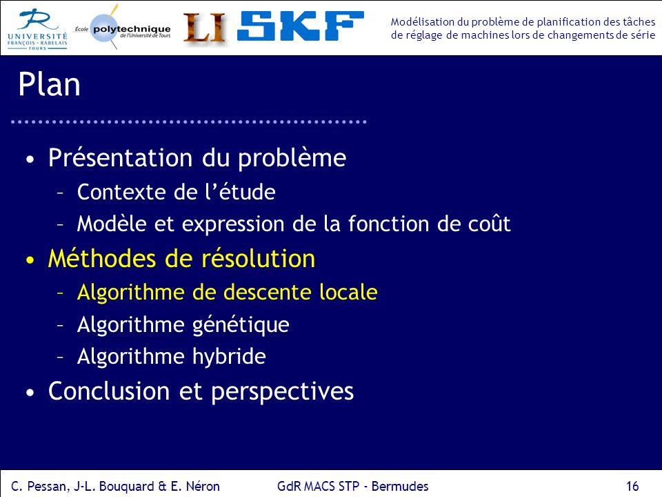Modélisation du problème de planification des tâches de réglage de machines lors de changements de série C.