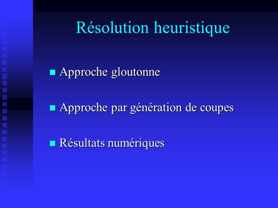 Résolution heuristique Approche gloutonne Approche gloutonne Approche par génération de coupes Approche par génération de coupes Résultats numériques