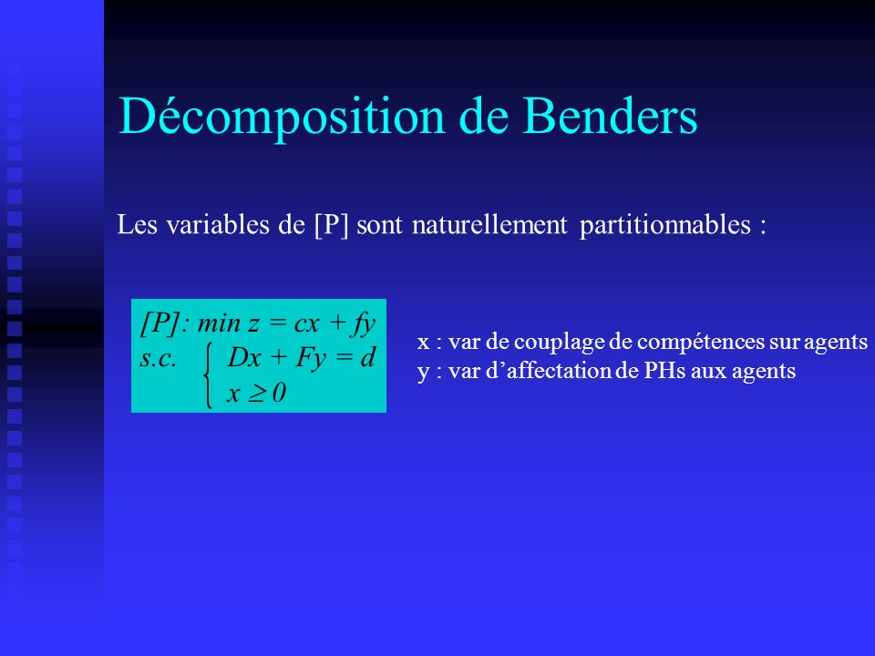 Décomposition de Benders [P]: min z = cx + fy s.c. Dx + Fy = d x 0 Les variables de [P] sont naturellement partitionnables : x : var de couplage de co