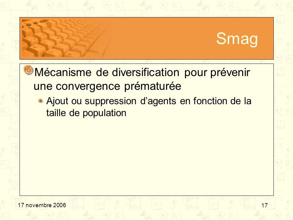 17 17 novembre 2006 Smag Mécanisme de diversification pour prévenir une convergence prématurée Ajout ou suppression dagents en fonction de la taille d