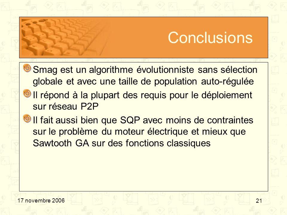 21 17 novembre 2006 Conclusions Smag est un algorithme évolutionniste sans sélection globale et avec une taille de population auto-régulée Il répond à