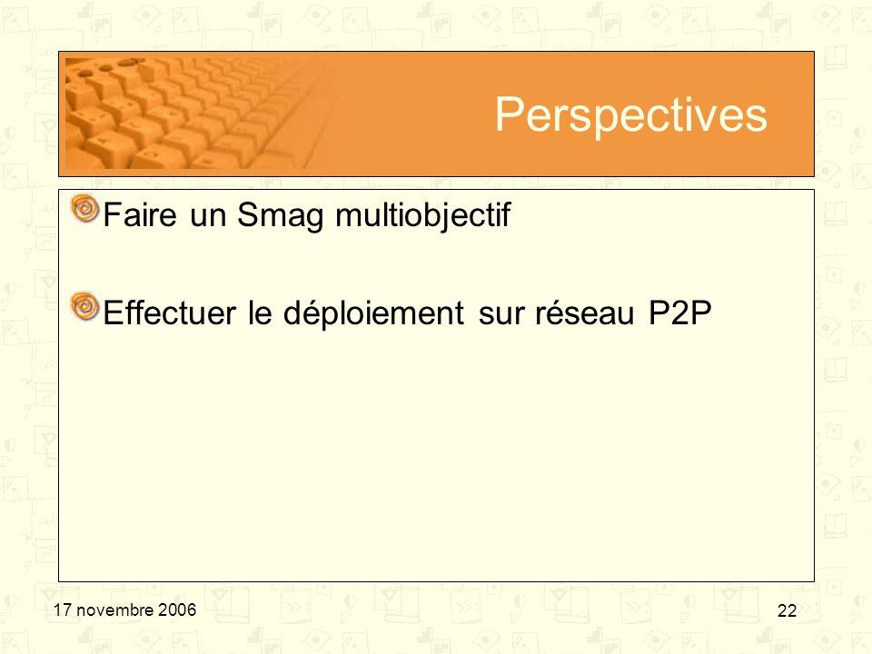 22 17 novembre 2006 Perspectives Faire un Smag multiobjectif Effectuer le déploiement sur réseau P2P