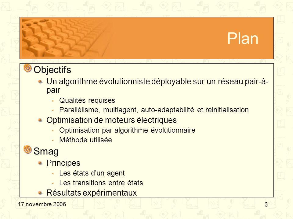3 17 novembre 2006 Plan Objectifs Un algorithme évolutionniste déployable sur un réseau pair-à- pair Qualités requises Parallélisme, multiagent, auto-