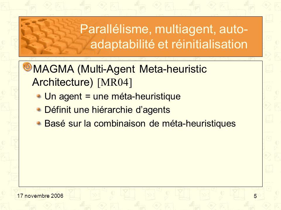 6 17 novembre 2006 Parallélisme, multiagent, auto- adaptabilité et réinitialisation MAGA (Multi-Agent Genetic Algorithm) [ZLXJ04] Un agent = une solution Agents évoluent sur un treillis Basé sur 4 opérateurs génétiques Compétition Coopération Mutation Apprentissage