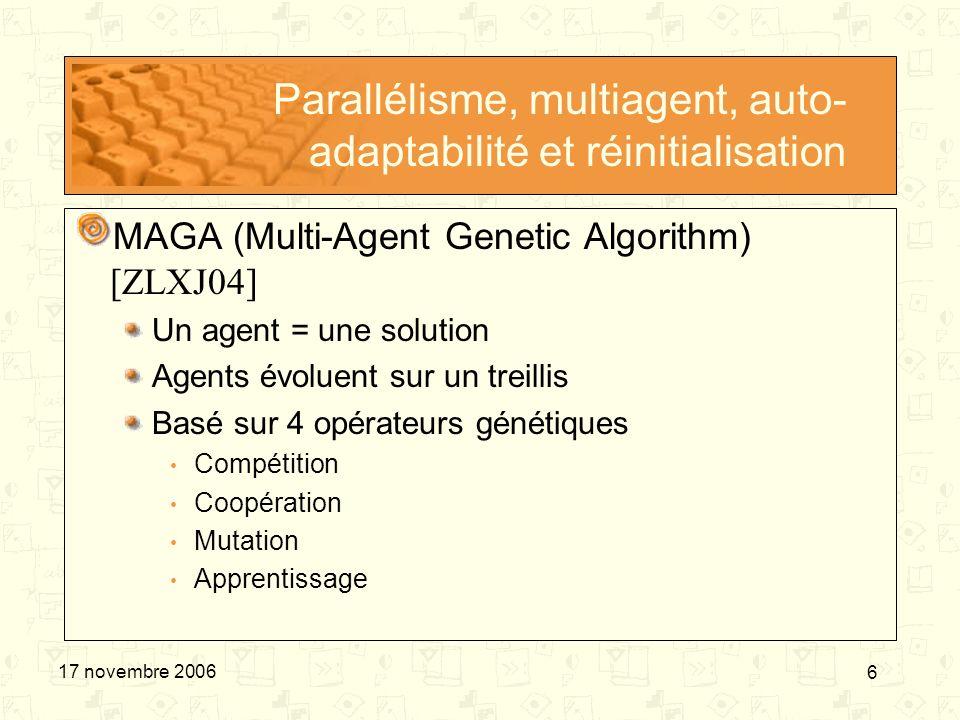 6 17 novembre 2006 Parallélisme, multiagent, auto- adaptabilité et réinitialisation MAGA (Multi-Agent Genetic Algorithm) [ZLXJ04] Un agent = une solut