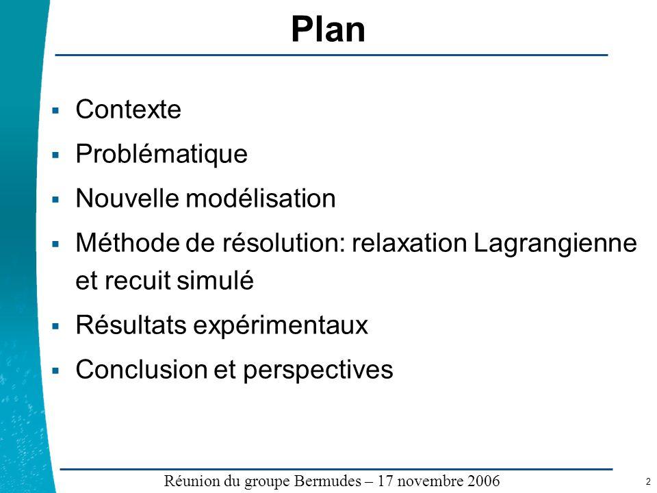 Légende …… Réunion du groupe Bermudes – 17 novembre 2006 2 Plan Contexte Problématique Nouvelle modélisation Méthode de résolution: relaxation Lagrang