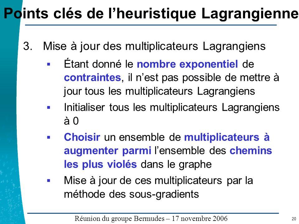 Légende …… Réunion du groupe Bermudes – 17 novembre 2006 20 Points clés de lheuristique Lagrangienne 3.Mise à jour des multiplicateurs Lagrangiens Éta